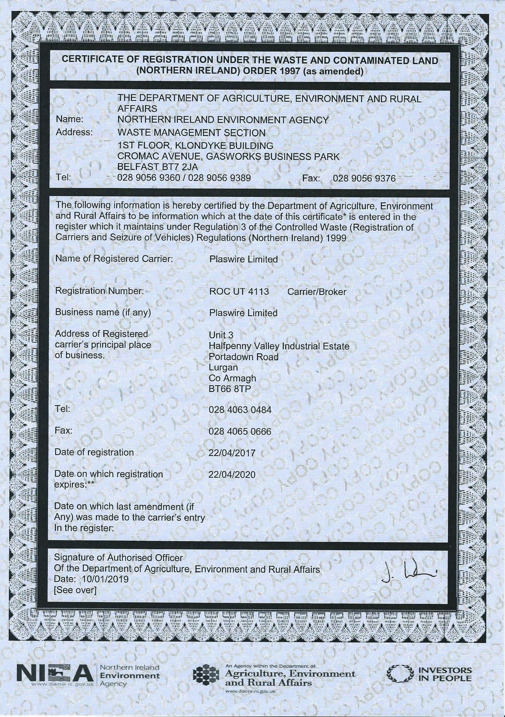 Plaswire Ltd Waste Carriers Licence New Lurgan Address 14012019